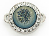 Teal Jeweltone Druzy Agate Connector Pendant w/Rhinestones 26mm (GSP2678)