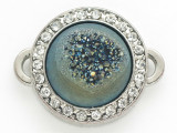 Teal Jeweltone Druzy Agate Connector Pendant w/Rhinestones 26mm (GSP2679)
