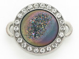 Purple Jeweltone Druzy Agate Connector Pendant w/Rhinestones 26mm (GSP2680)