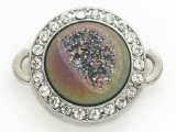 Purple Jeweltone Druzy Agate Connector Pendant w/Rhinestones 26mm (GSP2681)