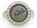 Purple Jeweltone Druzy Agate Connector Pendant w/Rhinestones 26mm (GSP2682)