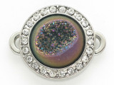 Purple Jeweltone Druzy Agate Connector Pendant w/Rhinestones 26mm (GSP2683)
