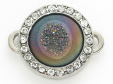 Purple Jeweltone Druzy Agate Connector Pendant w/Rhinestones 26mm (GSP2684)