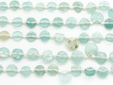 Small Aqua Blue Round Tabular Roman Glass Beads (AF1943)