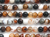 Brown & White Agate Faceted Round Gemstone Beads 8mm (GS4927)