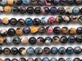 Black & Multi-Color Agate Faceted Round Gemstone Beads 6mm (GS4931)