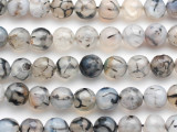 Clear & Black Crackle Agate Faceted Round Gemstone Beads 9-10mm (GS4933)
