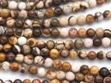 Brown Zebra Jasper Round Gemstone Beads 6mm (GS4934)