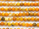 Light Orange Agate Faceted Round Gemstone Beads 6mm (GS4935)