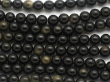 Gold Sheen Obsidian Round Gemstone Beads 6mm (GS4937)
