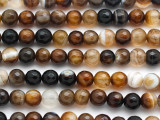 Brown Agate Faceted Round Gemstone Beads 8mm (GS4938)