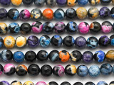 Black & Multi Color Agate Faceted Round Gemstone Beads 8mm (GS4939)