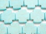 Light Turquoise Magnesite Cross Gemstone Beads 26mm (GS4944)