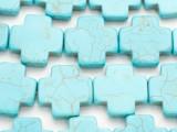 Turquoise Magnesite Cross Gemstone Beads 26mm (GS4945)
