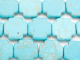 Turquoise Magnesite Cross Gemstone Beads 25mm (GS4946)