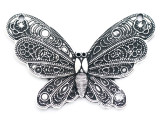 Ornate Butterfly - Pewter Pendant 62mm (PW961)
