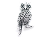 Horned Owl - Pewter Pendant 64mm (PW962)