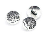 Pewter Bead - Tree Button 14mm (PB887)