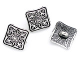 Pewter Bead - Square Button 13mm (PB889)