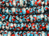 Blue, Red & White Saucer Sandcast Glass Beads 16mm (SC986)