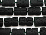 Dark Carved Jade Rectangular Gemstone Beads 28-34mm (GS4973)