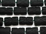 Dark Carved Jade Rectangular Gemstone Beads 28-34mm (GS4973)