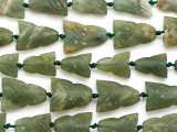 Carved Jade Arrowhead Gemstone Beads 24-30mm (GS4974)