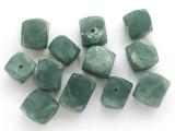 Jade Faceted Block Gemstone Beads 10-15mm - Set of 12 (GS4981)