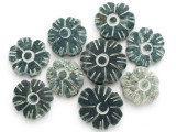 Carved Jade Flower Gemstone Beads 22-30mm - Set of 9 (GS4982)