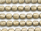 Brass Hematite Buddha Gemstone Beads 10mm (GS5014)