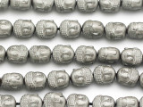 Bark Silver Hematite Buddha Gemstone Beads 10mm (GS5015)