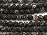 Matte Black & Brown Tibetan Agate Round Gemstone Beads 8mm (GS5033)