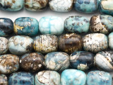 Light Blue Crackle Agate Barrel Gemstone Beads 18mm (GS5037)