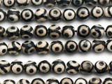 Black & White Tibetan Agate Faceted Round Gemstone Beads 8mm (GS5038)