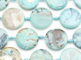 Aqua Agate Round Tabular Gemstone Beads 28-30mm (GS5042)