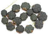 Carved Jade Flower Gemstone Beads 24-35mm (GS4980)