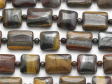 Tiger Iron Rectangle Tabular Gemstone Beads 15-20mm (GS5052)