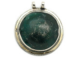 Afghan Silver & Ancient Roman Glass Pendant 60mm (AF974)