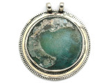 Afghan Silver & Ancient Roman Glass Pendant 60mm (AF976)
