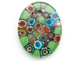 Green Oval Foil Glass Pendant 50mm (AP2179)