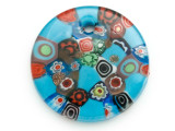 Light Blue Round Foil Glass Pendant 46mm (AP2180)