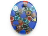 Blue Oval Foil Glass Pendant 49mm (AP2186)
