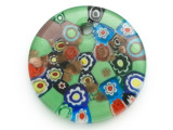 Green Round Foil Glass Pendant 46mm (AP2187)