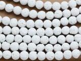 White Round Lava Rock Beads 8mm (LAV158)