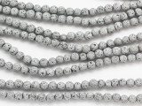 Metallic Silver Round Lava Rock Beads 5mm (LAV159)