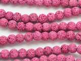 Pink Round Lava Rock Beads 8mm (LAV160)