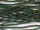 Green Jeweltone Rainbow Glass Seed Beads - 11/0 (SB232)