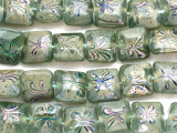 Green w/Multi-Color Flowers Square Lampwork Glass Beads 15mm (LW1595)