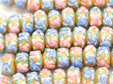 Yellow w/Pink & Blue Flowers Lampwork Glass Beads 14mm (LW1594)