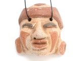 Mayan Carved Clay Mask Pendant (GUA492)